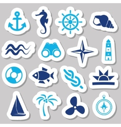 Marine stickers vector