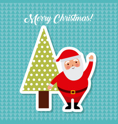 merry christmas santa claus and tree pine vector image