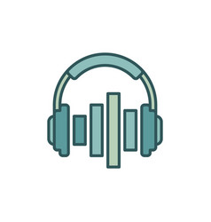 music headphones with equalizer icon or vector image