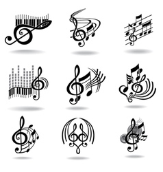 Music notes set of music design elements or icons vector