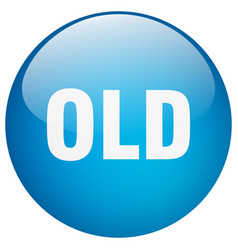 Old blue round gel isolated push button vector