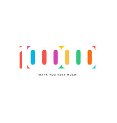 one million subscribers baner colorful logo vector image