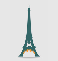 paris eiffel tower with cartoon face vector image