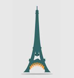 Paris eiffel tower with cartoon face vector