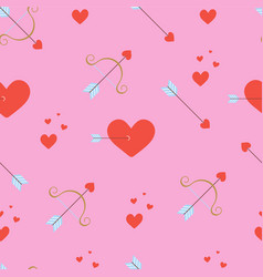 Pattern with hearts bow and arrows vector