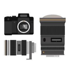 Photo optic lenses set vector