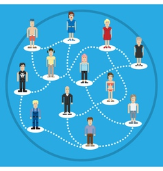Pixel people social connection vector image