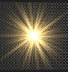 Realistic sun rays yellow sun ray glow abstract vector