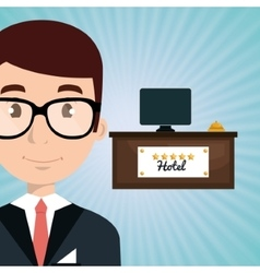 Reception hotel employee icon vector