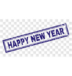 Scratched happy new year rectangle stamp vector
