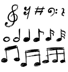 set hand drawn music note doodle doodle vector image