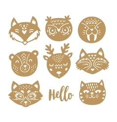 Set of animal faces in Scandinavian style vector