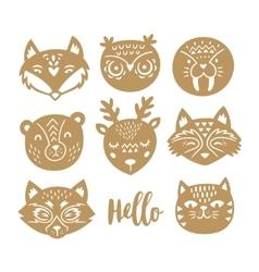 set of animal faces in scandinavian vector image