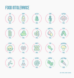 set of ingredient warning label icons vector image