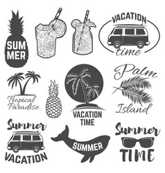 Set of summertime emblems palm trees sunglasses vector