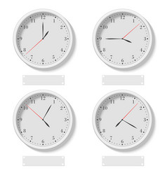 set realistic classic round clocks showing vector image