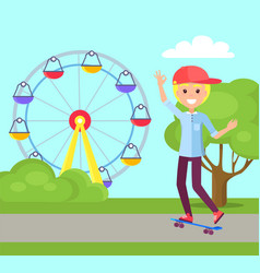 skateboarding and amusement vector image