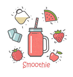 Smoothie cocktail and ingredients vector