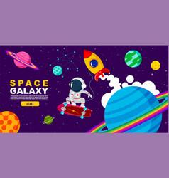 Space galaxy surf skate universe design vector