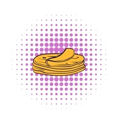 Stack of tortillas icon comics style vector