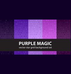 star pattern set purple magic seamless vector image