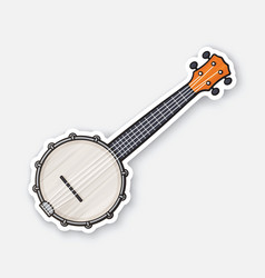 sticker classic country music banjo vector image