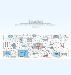 Studies advertising flat line art vector
