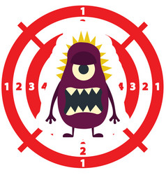 Target with dark lilac monster flat style vector