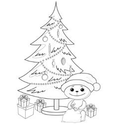 Teddy bear under christmas tree contours vector