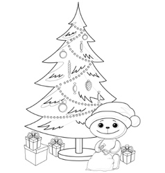 teddy bear under the christmas tree contours vector image