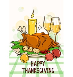 Thanksgiving card with roasted turkey bird vector image