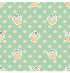 Tile pattern with cupcakes and polka dots on mint vector