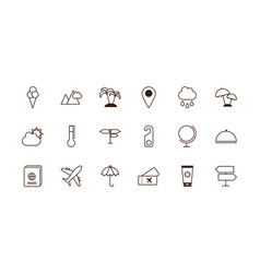 tourism vacations travel related icons set line vector image