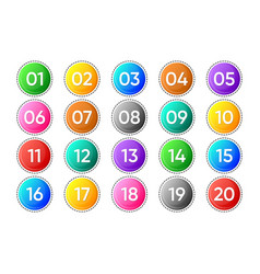 twenty colorful numbers icons on white vector image