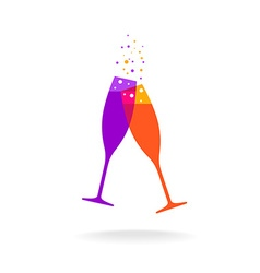 Two champagne colorful glasses with bubble vector image