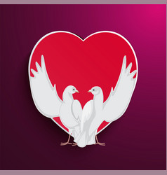 two doves rise wings up on background of red heart vector image