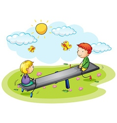 Two kids playing on seesaw in the park vector