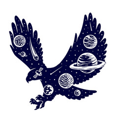 universe and eagle silhouettes vector image