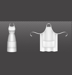 White chef apron female pinafore for cooking food vector