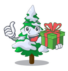 With gift realistic fir tree in snow mascot vector