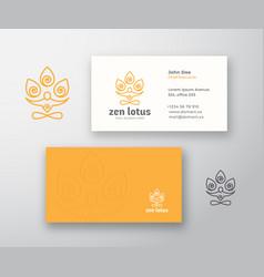 Zen lotus logo and business card template vector
