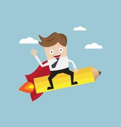 Businessman riding pencil rocket go to target vector