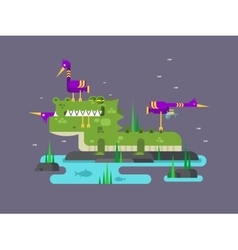 Crocodile character cartoon vector image