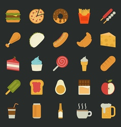 Food icons flat design vector image vector image
