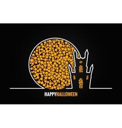 halloween house full moon design background vector image vector image