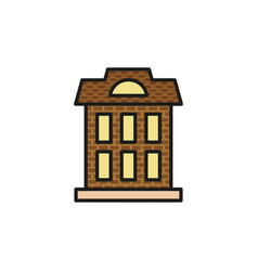 isolated brown color low-rise municipal house in vector image