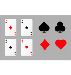 playing cards and poker symbols set vector image