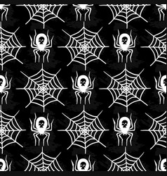 spiders and spider web silhouette spooky seamless vector image