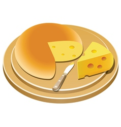 cheese and knife on a wooden plate vector image vector image