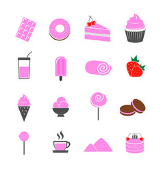 dessert strawberry flavor icons set vector image